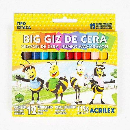 Giz de Cera Big 12 Cores - Acrilex