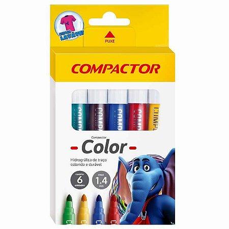 Caneta Hidrocor Compactor Color Estojo 006 Cores