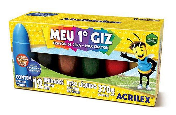 Giz de cera 12 cores meu primeiro giz Acrilex