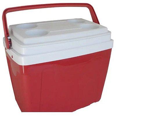 Caixa Térmica 34 Litros Com Alça E Porta Copos Antares Vermelha