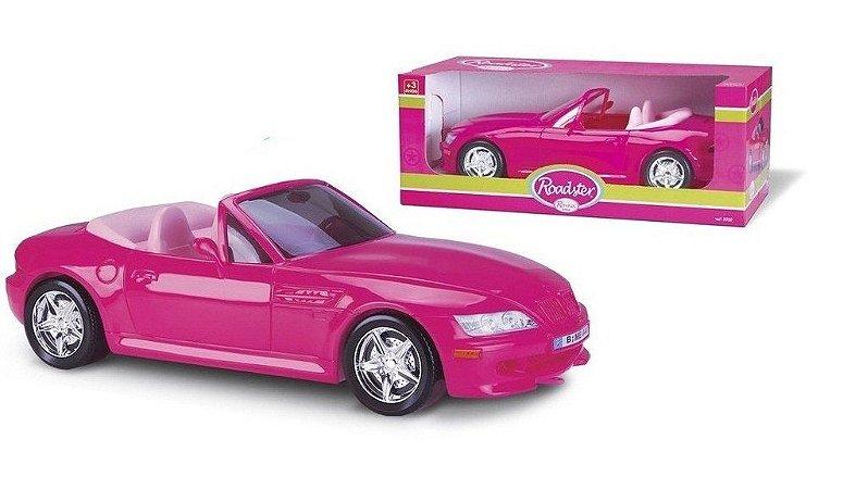 Carrinho Roadster Rosa Conversível Serve Barbie 46cm - Roma Brinquedos
