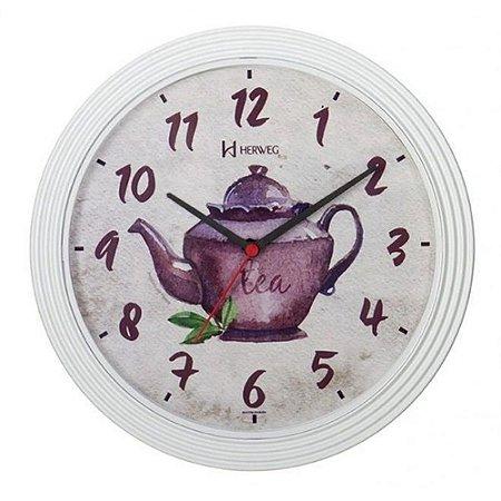 Relógio De Parede Analógico Bule Para Cozinha Herweg Branco