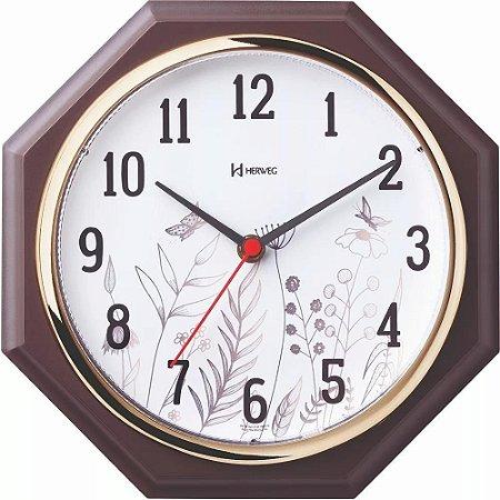 Relógio De Parede Herweg Octógno Marrom e Dourado