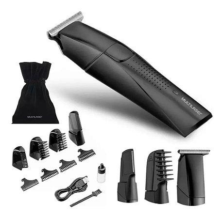 Barbeador 9 em 1 com lamina Navalha Multilaser e bolsa para acessórios Bivolt Preto