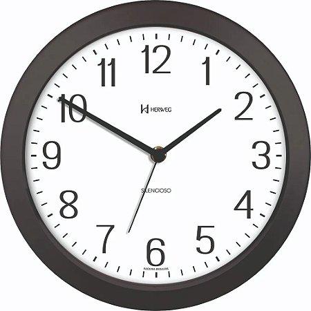 Relógio De Parede Redondo Silencioso 26cm Preto - Herweg
