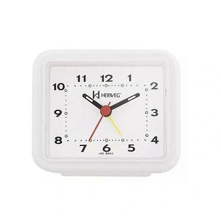 Relógio Despertador Pilha Branco Alarme Forte Herweg