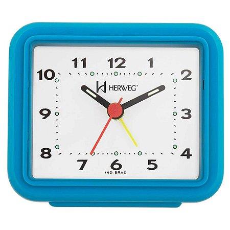 Relógio Despertador Pilha Turquesa Alarme Forte Herweg