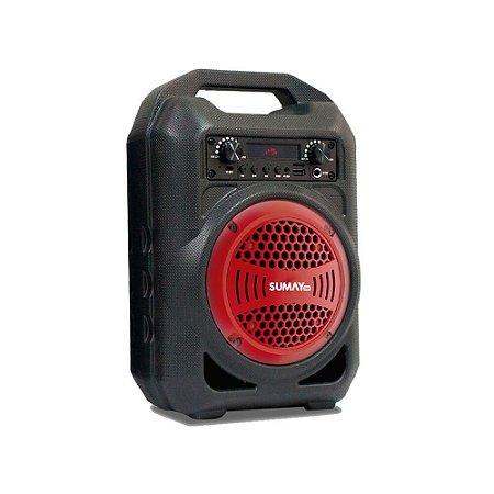 Caixa de Som Gallon Bluetooth Portátil Vermelho Sumay SM-CSP1303