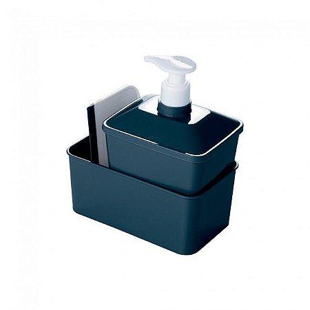 Kit Porta Detergente Quadrado  Plasutil Azul Intenso