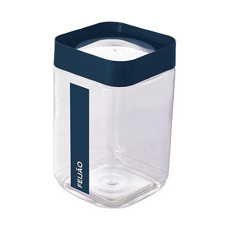 Pote de Plástico Quadrado 2 L para Feijão Tampa Rosca Plug Direcionado - Azul