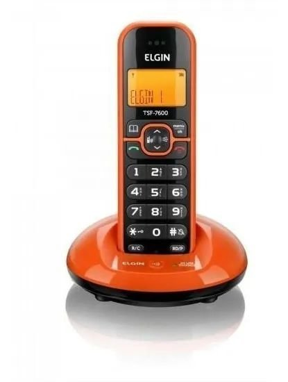 Telefone sem Fio Elgin com Identificador de Chamadas, Viva Voz Laranja