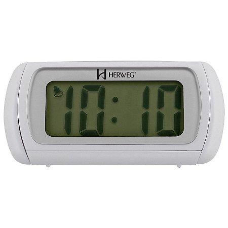 Relógio Despertador Digital Branco Com Luz Noturna - Herweg