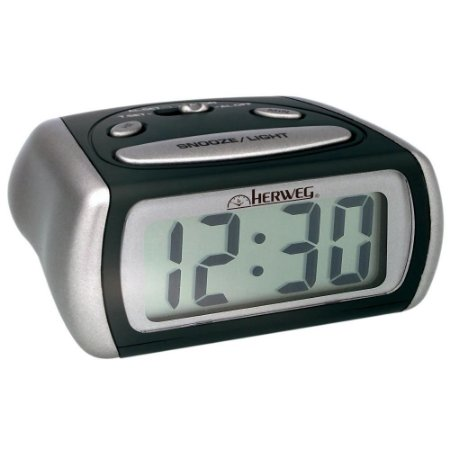 Relógio Despertador Digital Cinza Metalico Com Luz Noturna - Herweg