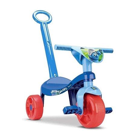 Triciculo Smurf Menino C/Haste Samba Toys