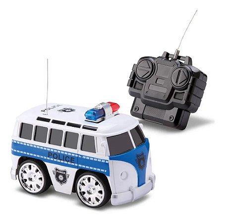Carrinho De Controle Remoto Polícia Kombi - Samba Toys