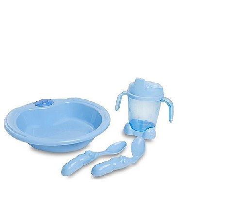 Conjunto De Alimentação Ursinho 4 Peças Azul - Adoleta Bebê