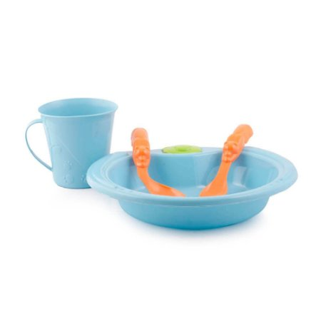 Conjunto De Alimentação Ursinho 4 Peças Azul Turquesa- Adoleta Bebê