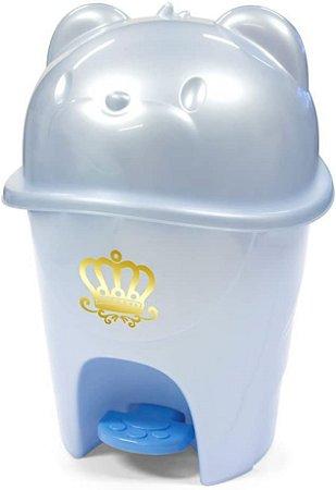 Lixeira Infantil com Pedal Fofura, Adoleta Bebê, Azul Real