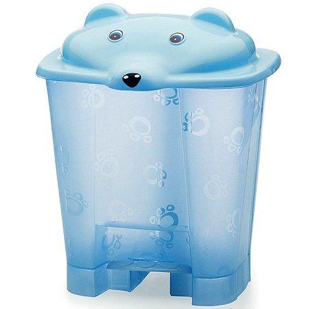 Lixeira Urso Translúcida com Pedal Azul 12L Adoleta