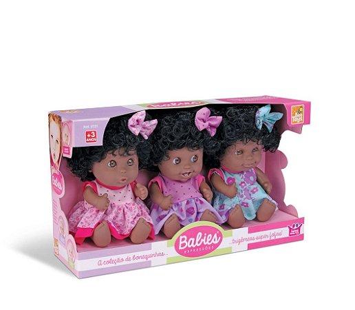 Boneca Babies Expressões Trigemeas Negra - Bee Toys