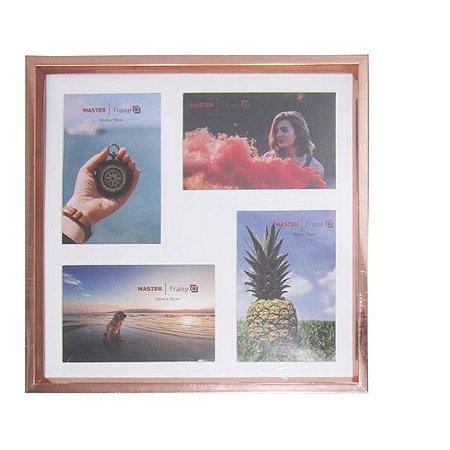 Porta Retrato Mural Com Moldura De Plastico Metalizado Rose Gold Para 4 Fotos 10X15 13Mm