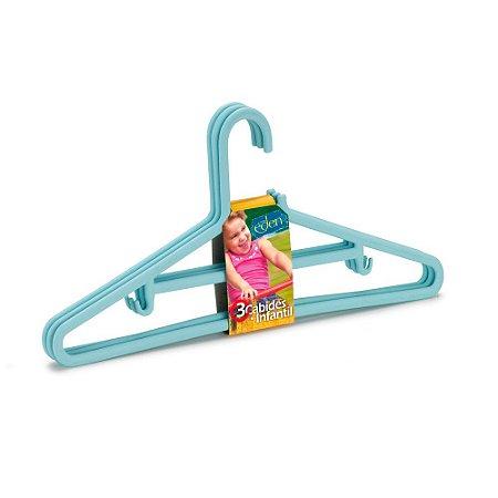 Conjunto Com 3 Cabides Infantis Azul - Arthi
