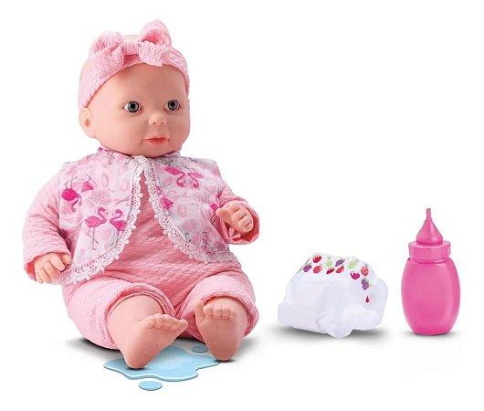Boneca Bebe Recém Nascida Xixizinho Faz Xixi Com Acessórios Bee Toys