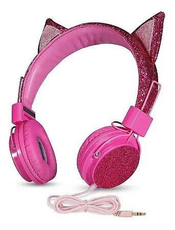 Fone de Ouvido Com Orelhinha De Gatinha Macio Glitter Rosa - Info Kit