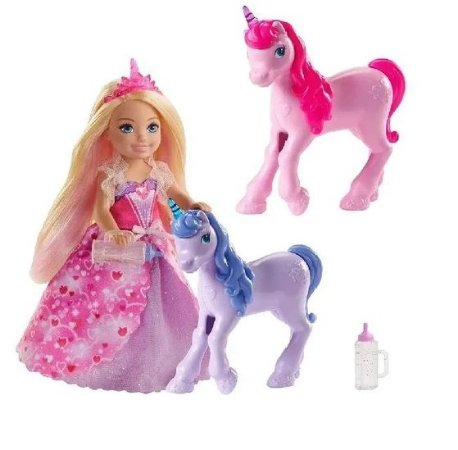 Boneca Barbie Princesa Chelsea e Bebês Unicórnios Mattel