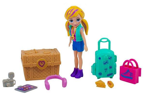 Boneca Polly Pocket Kit de Viagem Com Acessórios - Mattel