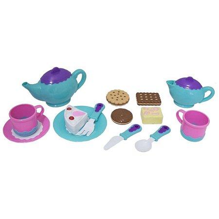 Kit comida chá da tarde de brinquedo para boneca - (Bolo, biscoito, xícaras) BBR TOYS