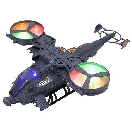 Helicóptero Bate e Volta de Brinquedo Infantil Com luzes, Som, Movimento de Rotação BBR TOYS