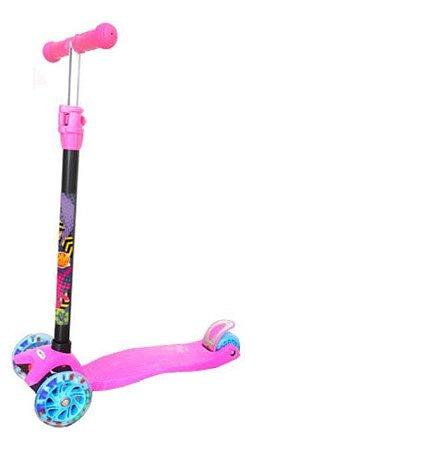 Patinete com Luzes e freio Infantil New Plus Dobrável e ajustável Rosa - Dm Toys