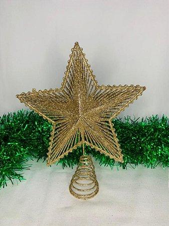 Estrela Para Ponta De Árvore Dourada 24 Cm - Wincy Natal