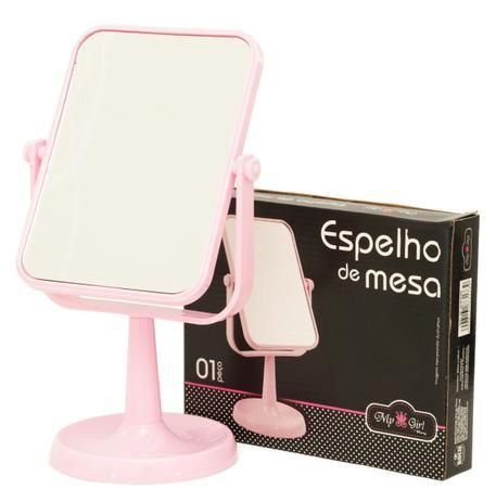 Espelho de Mesa Retangular Rosa com Suporte 29X19 cm - Rocie