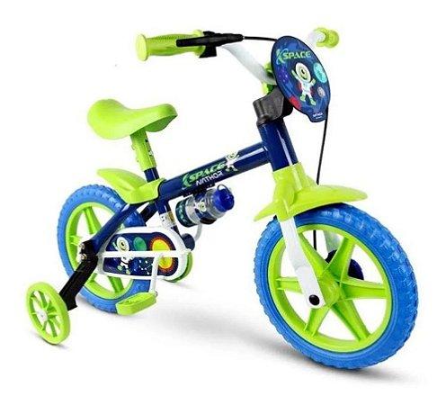Bicicleta Infantil Aro 12 Com Rodinhas Menino - Space - Nathor