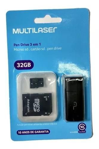 Pen Drive 3 em 1 - 32gb - Micro sd. cartão sd. - Multilaser