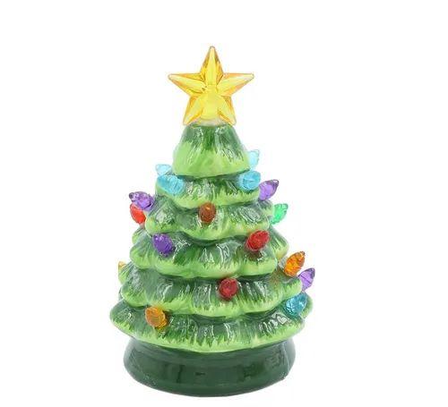 Enfeite Arvore Natal Porcelana Com Led De Bateria - Wincy