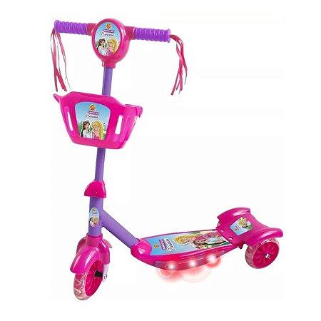 Patinete Musical Com Cesta Sonho De Princesa Com Som E Luz - Dm Toys