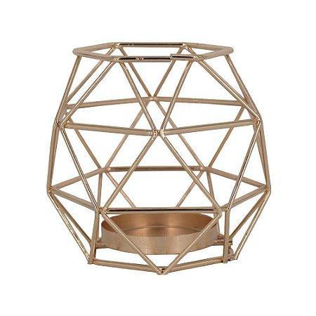 Castiçal para Velas Oval Geométrico Dourado - Amigold