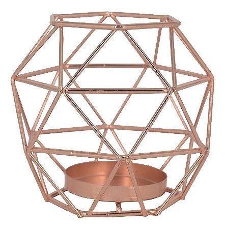 Castiçal para Velas Oval Geométrico Rose - Amigold