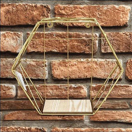 Prateleira Decorativa Hexagonal de Metal Cromado