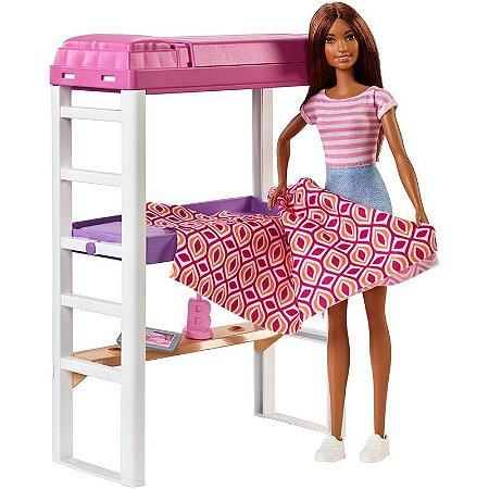 Boneca Barbie Morena Móveis e Acessórios - Quarto e Escritório - Mattel