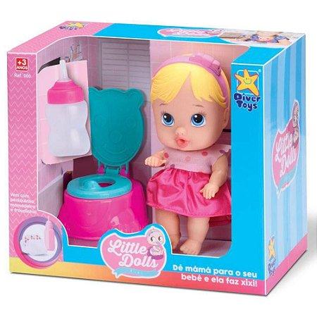 Boneca Little Dolls Faz Xixi Loira - Diver Toys