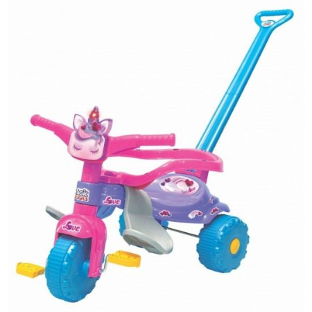 Triciclo Uni Love Tico Tico Infantil Descanso de Pés e Luz - Magic Toys
