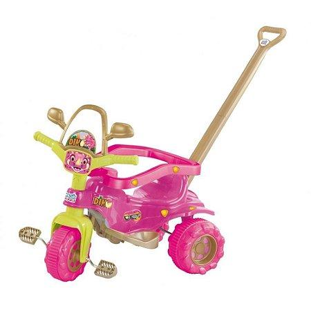 Triciclo Tico-Tico Dino Pink com Aro Protetor e Haste - Magic Toys