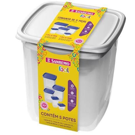 Conjunto Potes Plasticos C/6  Branco - Sanremo