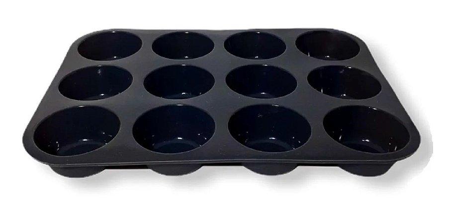 Forma De Cupcake Silicone 12 bolinhos Preto - Kehome