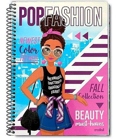 Caderno Pop Fashion Negra Espiral 10 Matérias 200 Folhas - Credeal
