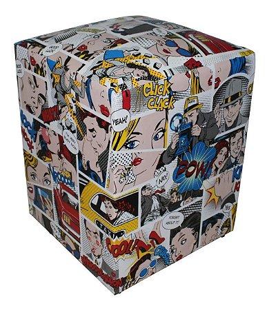 Puff Quadrado 35x35x45cm Decorativo Estampado